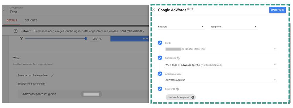 AdWords mit Google Optimize verbinden